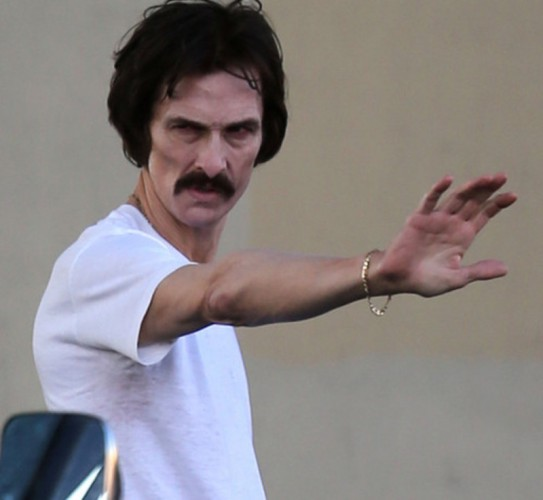 A disheveled Matthew McConaughey gets arrested in scenes for 'The Dallas Buyers Club' in New Orleans