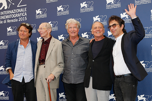 VENICE, ITALY - SEPTEMBER 10:  Producer Robert Lantos, actors Heinz Lieven, Jurgen Prochnow, Bruno Ganz and director Atom Egoyan attend a photocall for 'Remember' during the 72nd Venice Film Festival at Palazzo del Casino on September 10, 2015 in Venice, Italy.  (Photo by Tristan Fewings/Getty Images)