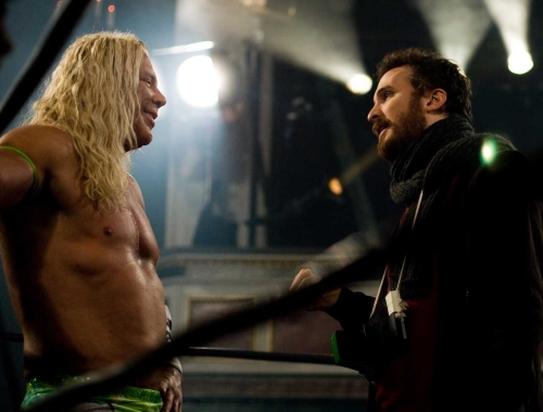 mickey-rourke-and-darren-aronofsky-filming-the-wrestler