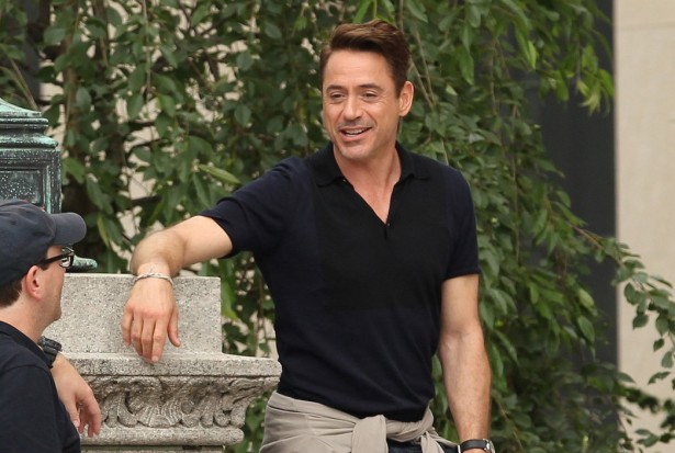 Melissa Leo and Robert Downey Jr on the set of 'The Judge' in Dedham, MA