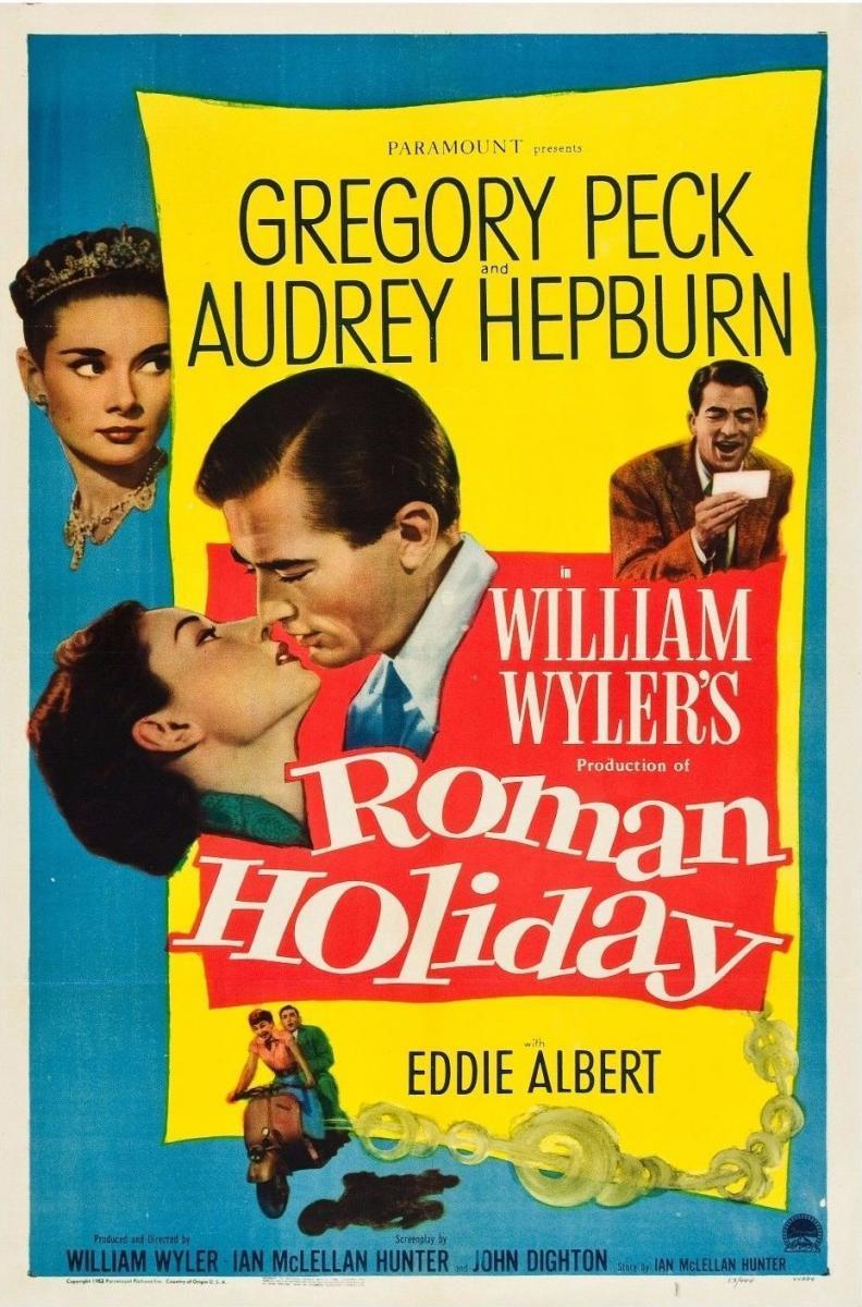 Gregory Peck y Audrey Hepburn en Roman Holiday (póster)